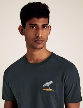 Erkek Lacivert Slim Fit İşlemeli Saf Pamuk T-Shirt