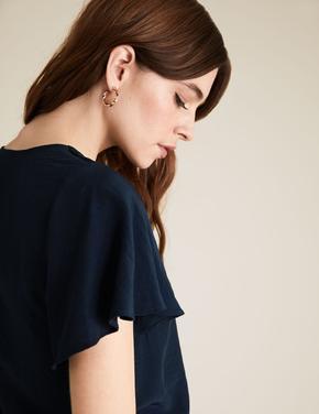 Kadın Lacivert V Yaka Kısa Kollu T-Shirt