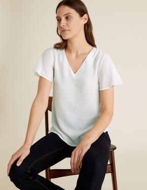 Kadın Beyaz V Yaka Kısa Kollu T-Shirt