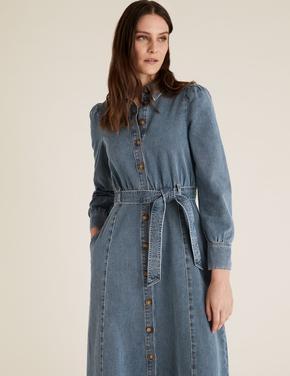 Kadın Mavi Kemerli Midi Denim Gömlek Elbise