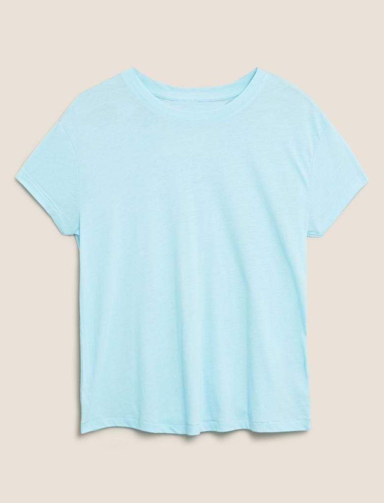Kadın Mavi Kısa Kollu T-shirt