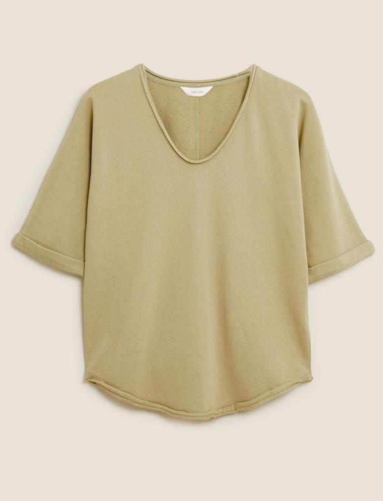 Kadın Yeşil Saf Pamuk Yarım Kollu V Yaka Sweatshirt