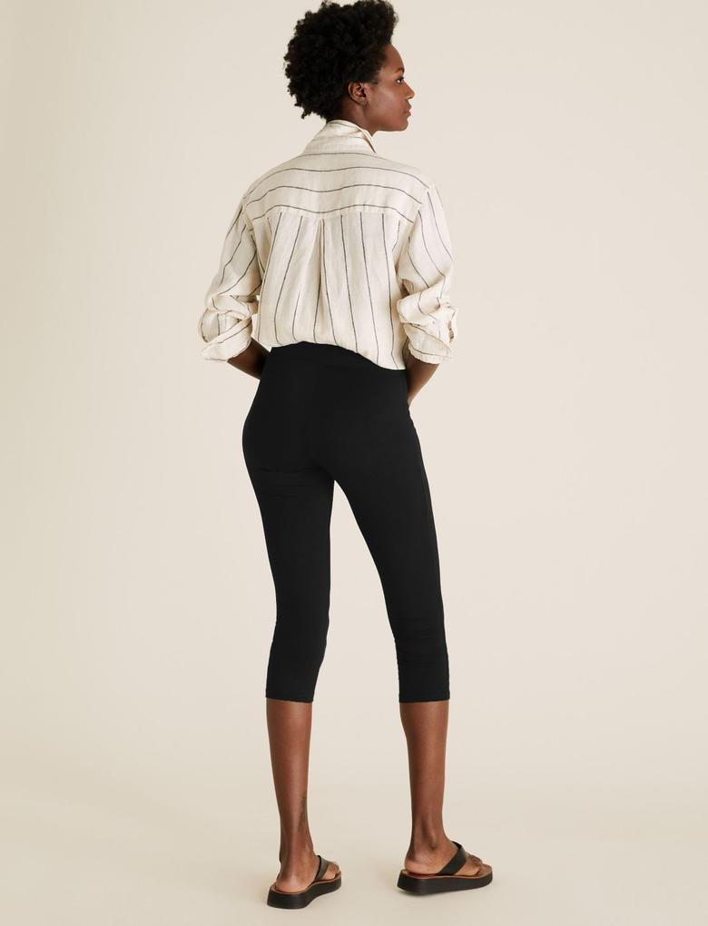 Kadın Siyah Yüksek Bel Cropped Leggings
