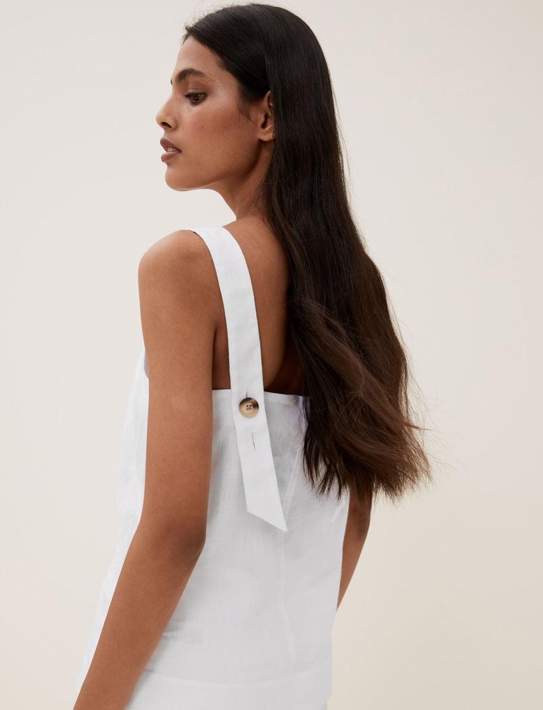 Kadın Beyaz Keten Düğme Detaylı Askılı Bluz