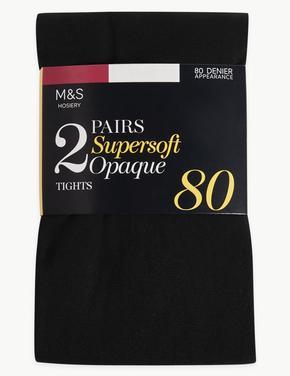 Kadın Siyah 2'li 80 Denye Opak Külotlu Çorap Seti