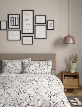 Ev Mavi Saf Pamuk Çizgili Yatak Takımı