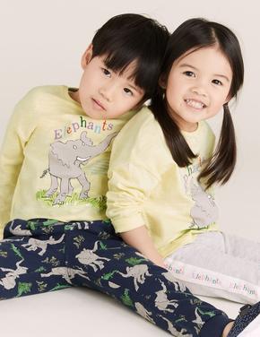 Kız Çocuk Sarı Fil Desenli Unisex T-Shirt