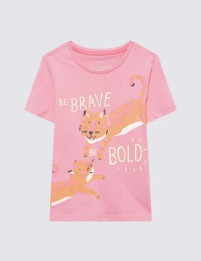 Kız Çocuk Pembe Tiger Baskılı T-Shirt