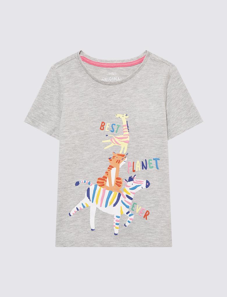 Kız Çocuk Gri Grafik Desenli T-Shirt