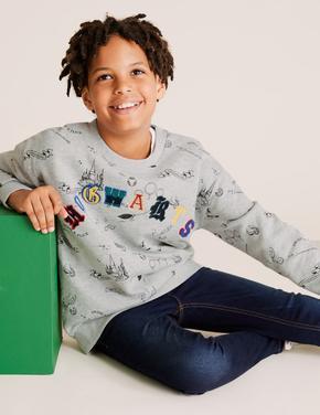 Erkek Çocuk Gri Harry Potter™ Hogwarts Sweatshirt (6-16 Yaş)