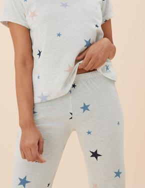 Kadın Bej Yıldız Desenli Pijama Takımı