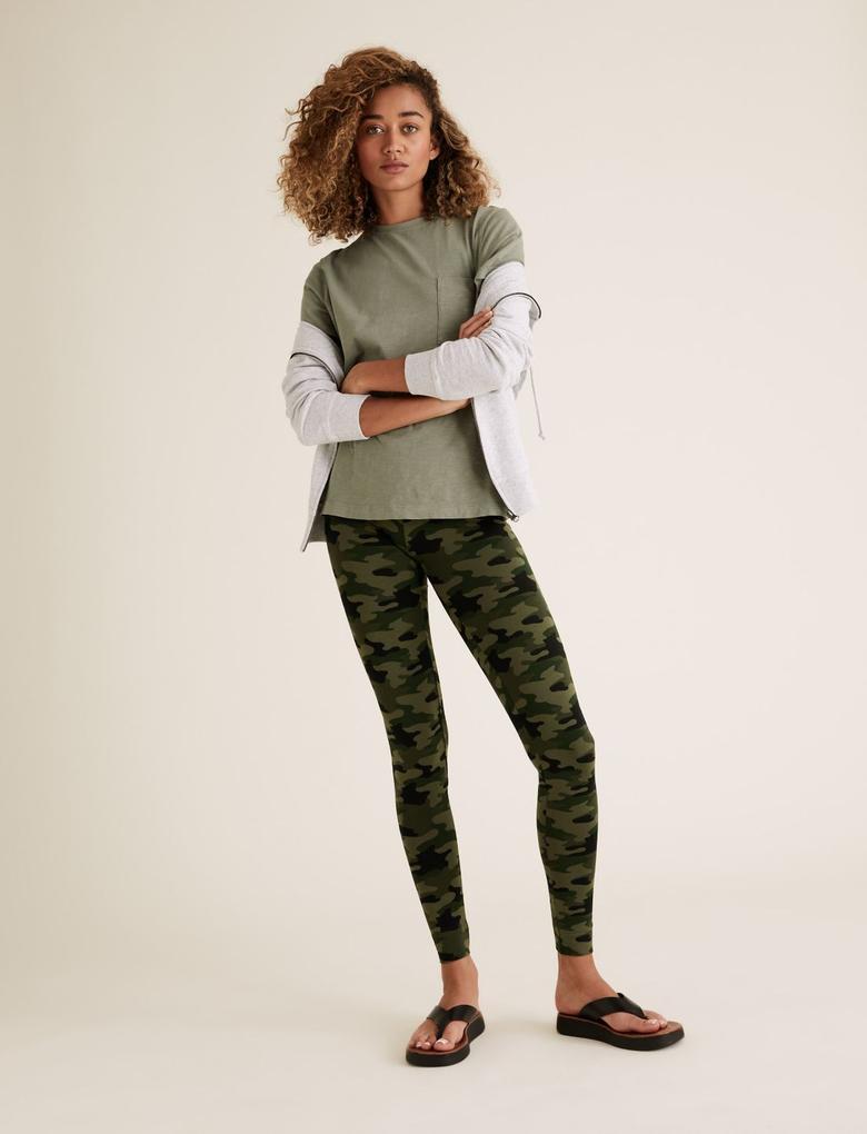 Kadın Yeşil Yüksek Bel Kamuflaj Desenli Leggings