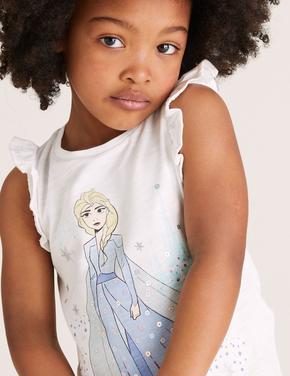 Kız Çocuk Beyaz Pamuklu Frozen™ T-Shirt