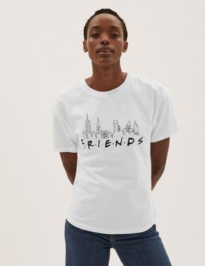 Kadın Beyaz Saf Pamuk Friends™ Sloganlı T-Shirt