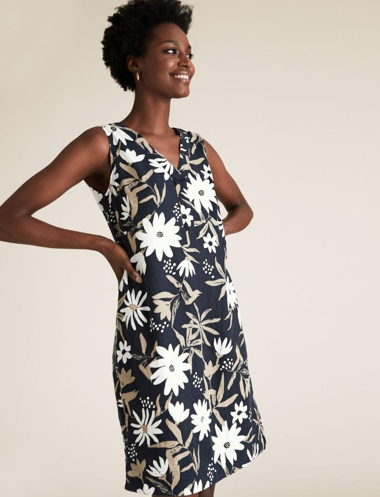 Kadın Lacivert Çiçek Desenli Keten Elbise