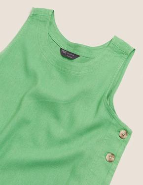 Kadın Yeşil Keten Yuvarlak Yaka Midi Elbise