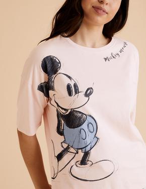 Kadın Pembe Mickey Mouse™ Desenli Pijama Takımı