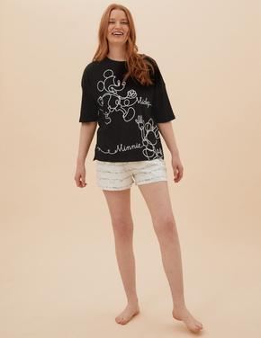 Kadın Siyah Mickey Mouse™ Desenli Pijama Takımı