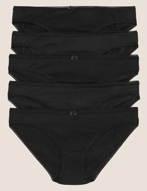 Kadın Siyah 5'li Cotton Lycra® Bikini Külot Seti