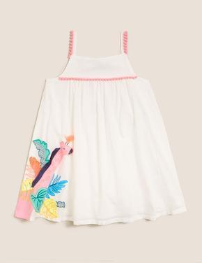 Kız Çocuk Beyaz İnce Askılı Desenli Elbise