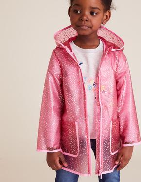 Kız Çocuk Pembe Kapişonlu Yağmurluk