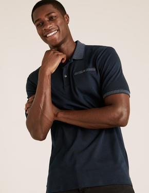 Erkek Lacivert Pamuklu Polo Yaka T-Shirt