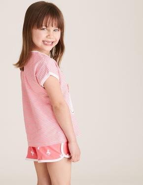 Çocuk Pembe Pamuklu Unicorn Desenli Pijama Takımı