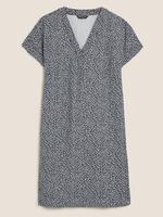 Kadın Lacivert Yaprak Baskılı Mini Keten Elbise