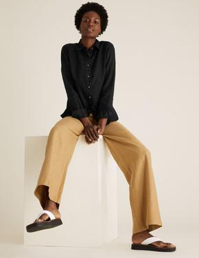 Kadın Siyah Saf Keten Uzun Kollu Gömlek