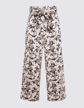 Kadın Yeşil Yaprak Desenli Tencel™ Pantolon