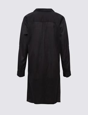 Kadın Siyah Saf Pamuklu Plaj Elbisesi