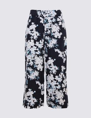 Kadın Lacivert Çiçek Desenli Wide Leg Crop Pantolon