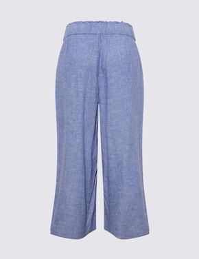 Kadın Mavi Wide Leg Crop Pantolon