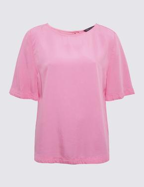 Kadın Pembe Tencel™ Kısa Kollu Bluz