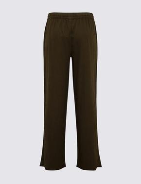 Kadın Yeşil Keten Karışımlı Wide Leg Pantolon