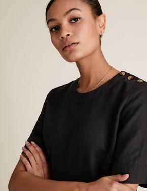 Kadın Siyah Saf Keten Düğme Detaylı Kısa Kollu Bluz