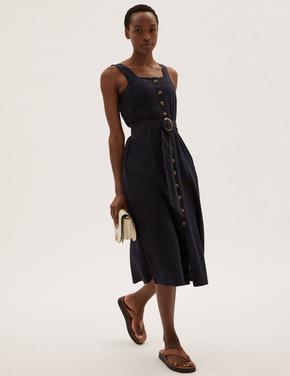 Kadın Lacivert Keten Midi Elbise