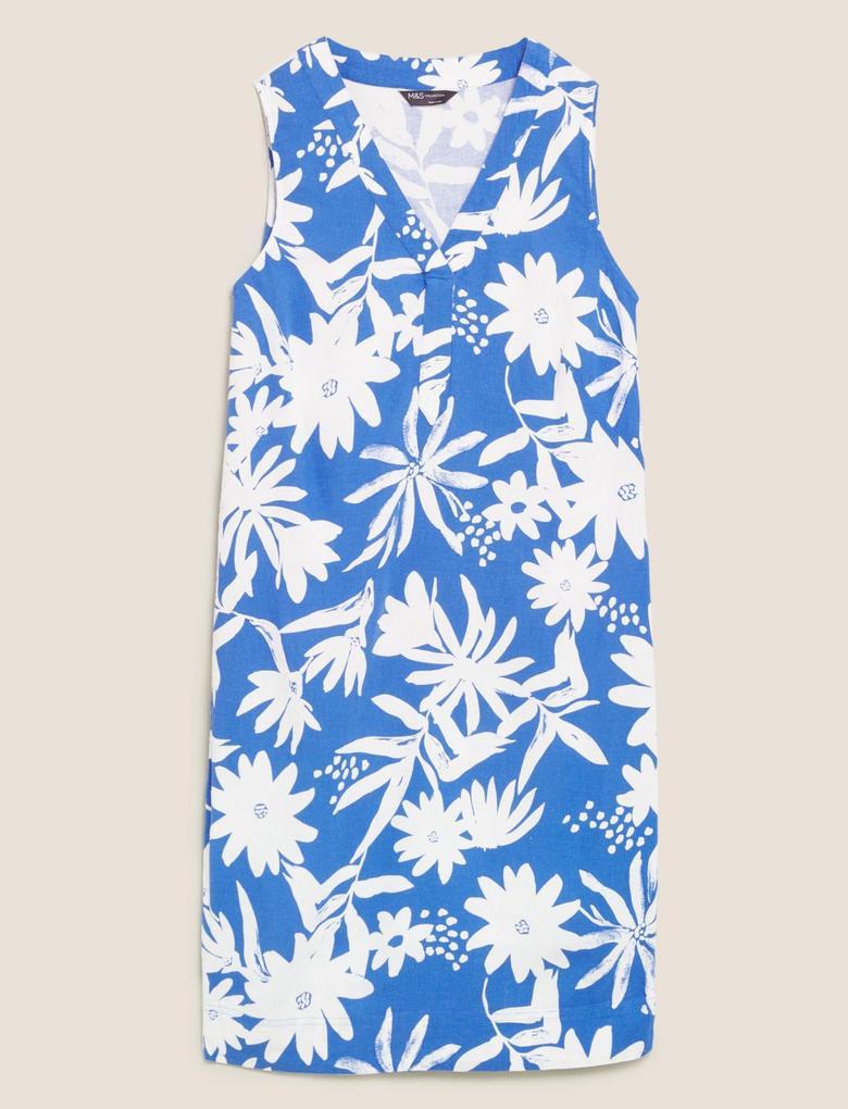 Kadın Mavi Çiçekli V Yaka Mini Keten Elbise