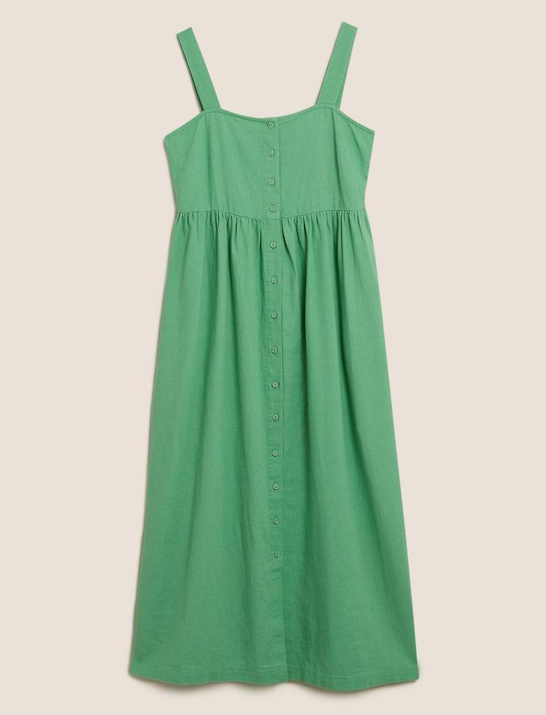 Kadın Yeşil Keten Midi Elbise