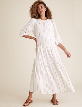 Kadın Krem Çizgili Midaxi Keten Elbise