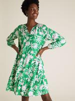 Kadın Yeşil Çiçek Desenli Mini Keten Elbise
