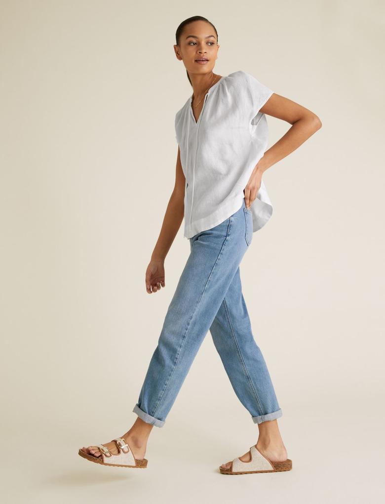 Kadın Beyaz Kısa Kollu Keten Bluz
