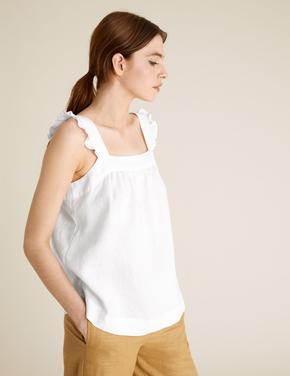 Kadın Beyaz Fırfır Detaylı Kolsuz Keten Bluz