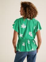 Kadın Yeşil Çiçek Desenli Bluz