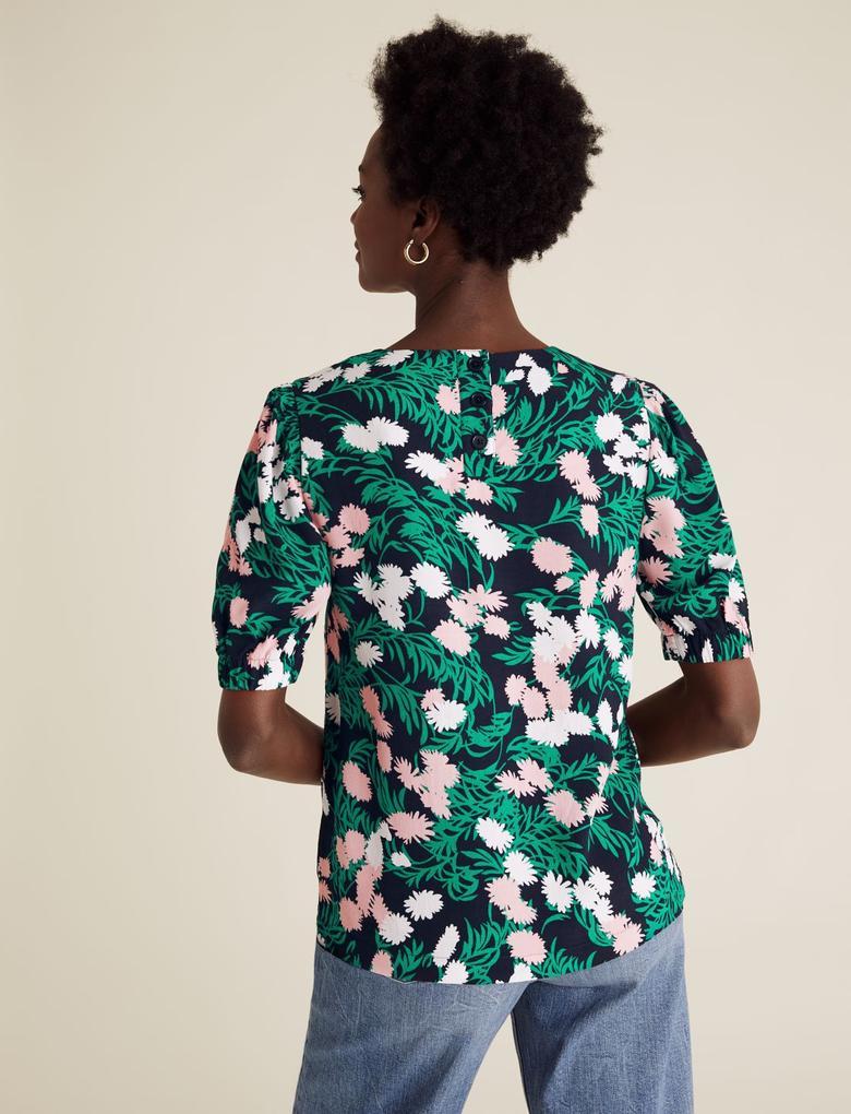 Kadın Multi Renk Çiçek Desenli T-Shirt