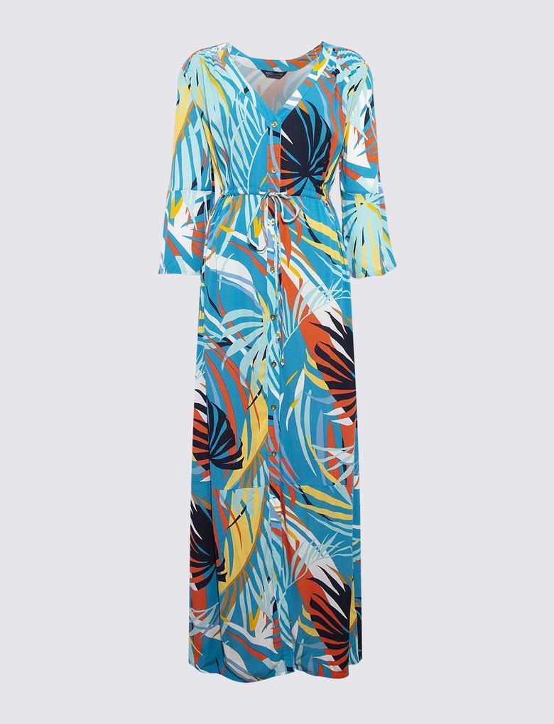 Kadın Mavi Palmiye Desenli Plaj Elbisesi