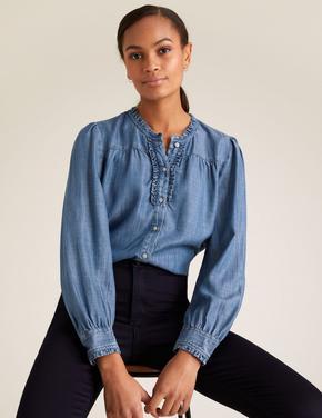 Kadın Mavi Saf Tencel™ Fırfır Detaylı Bluz