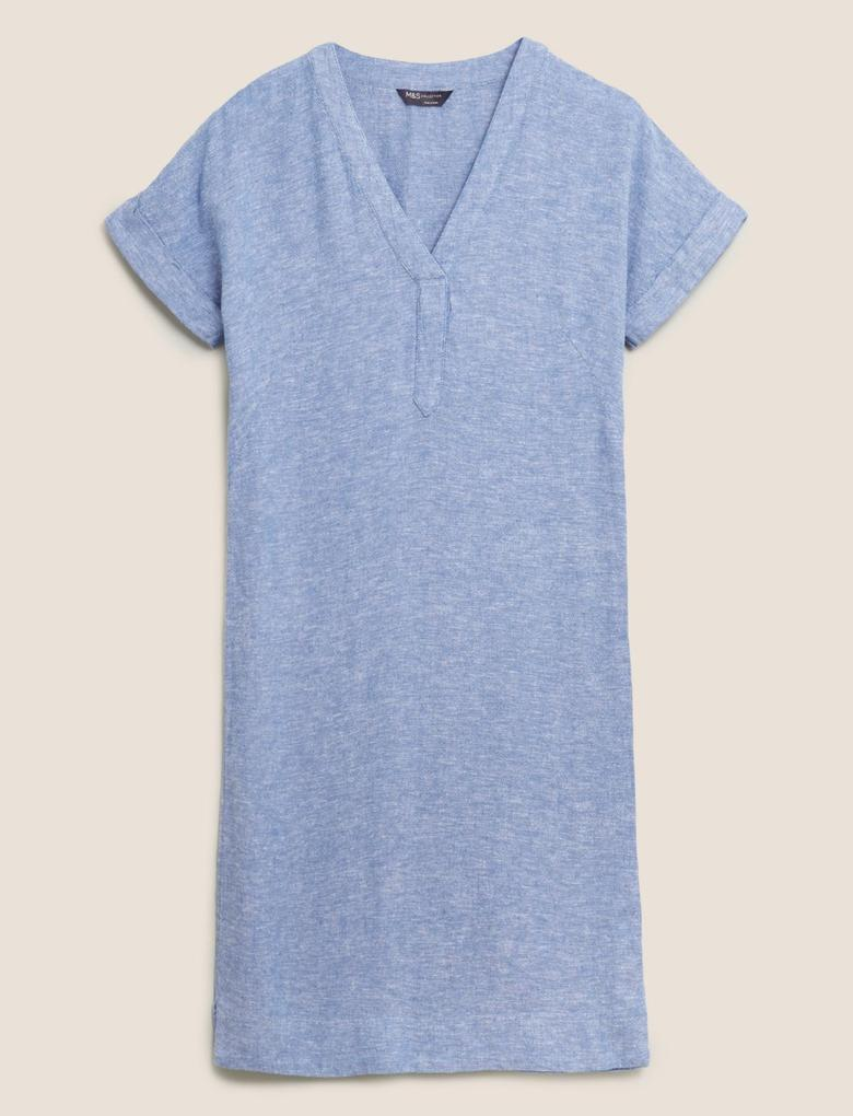 Kadın Mavi V Yaka Keten Elbise