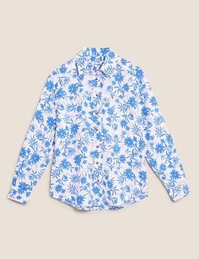 Kadın Mavi Saf Keten Gömlek