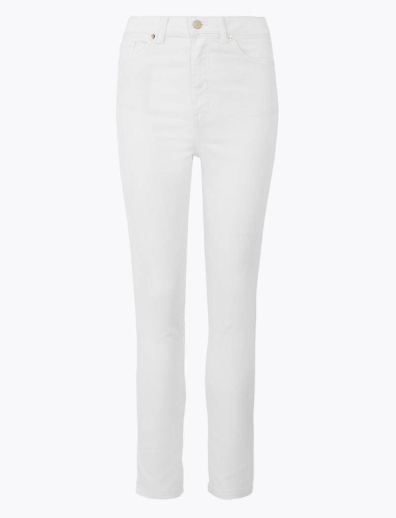 Kadın Beyaz Yüksek Belli Skinny Jean Pantolon